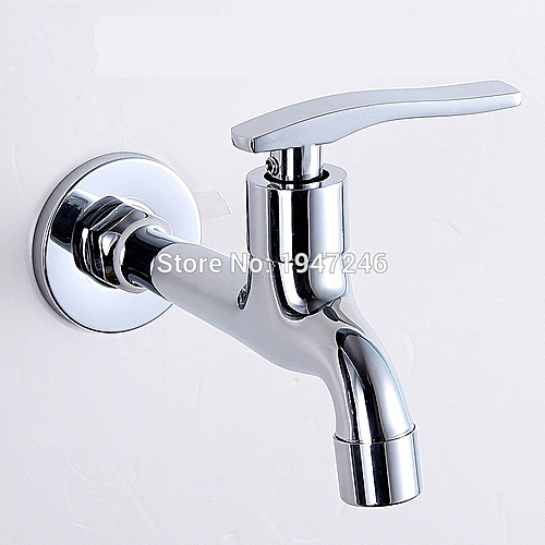 Chrome Copper Single Cold Water Tap Long Mops-4 Old Ordinary Faucets MOP Tub HLI