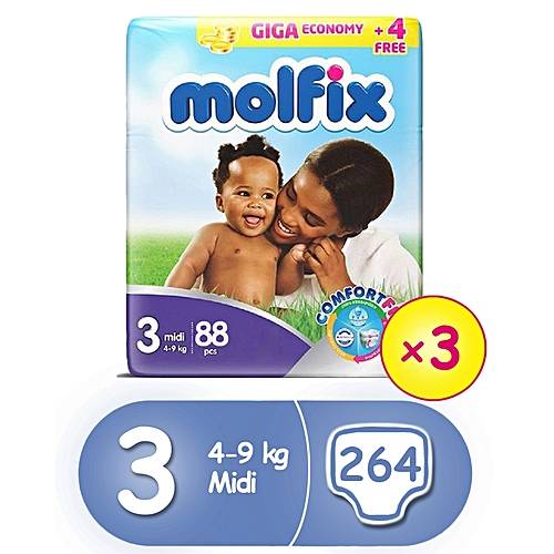 ComfortFix Diapers, Size 3 (x 3) (Total 264 Count)