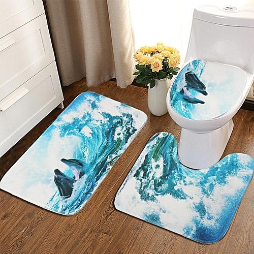 3Pcs Set Bathroom Non-Slip Cover Dolphins Pedestal Rug+Lid Toilet Cover+Bath Mat