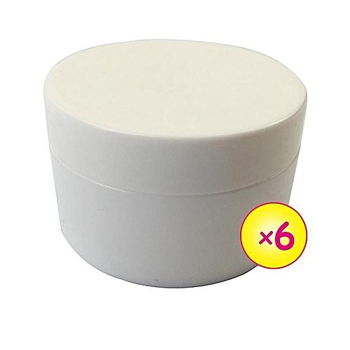 6pcs Plastic Container Opaque 50g - White