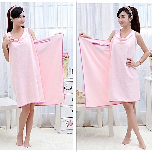2f9c4fc6de Generic Unisex Microfiber Wearable Bath Wrap Beach Towel Bathrobe - Pink