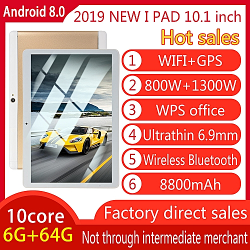 HOT SALE 10.1'' 4G+64GB Android 7.0 Tablet PC Octa 8 Core HD WIFI Bluetooth 2 SIM 4G NEW - Gold