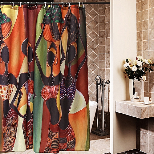 Custom Distinctive Cartoon African Woman Waterproof Bathroom Shower Curtain (African Woman)