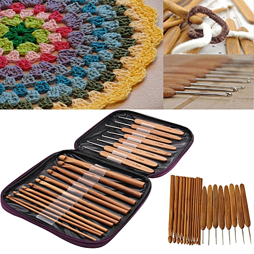 Lodaon 20Pcs Carbonize Bamboo Crochet Hooks Knitting Needles Craft With Purple Case