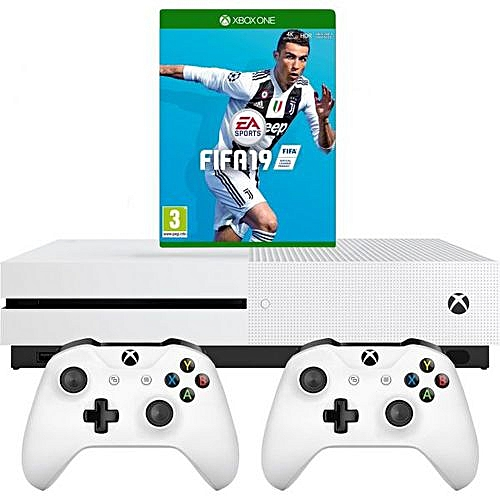 Xbox One S 1tb + 2 Controllers And Fifa 19 Bundle