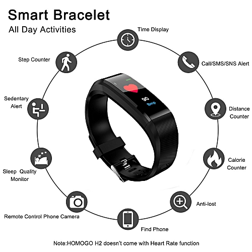 Fitness Tracker Color Screen Heart Rate Monitor Blood Presure Smart Bracelet