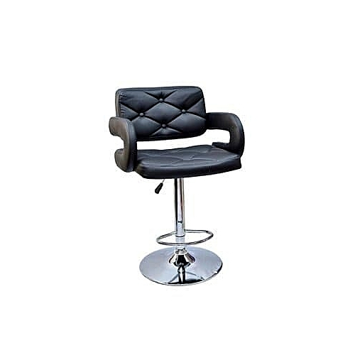 Leather Bar Stool-Black