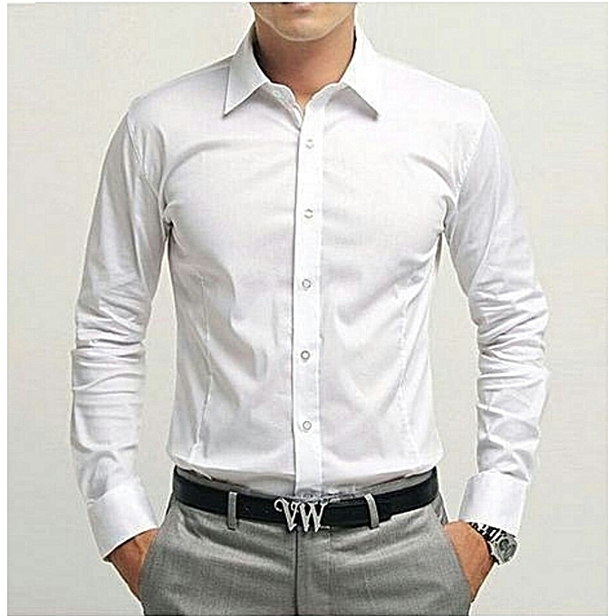 Fashion Mens Corporate Formal Long Sleeve Shirt WHITE  96e52334763