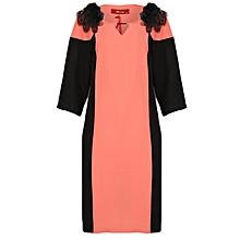 Three Quarter Sleeve Dress With Floral Details- Peach Black a5f20e4f77