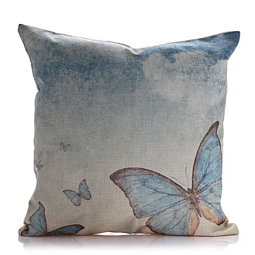 Butterfly Cotton Linen Square Throw Pillow Case