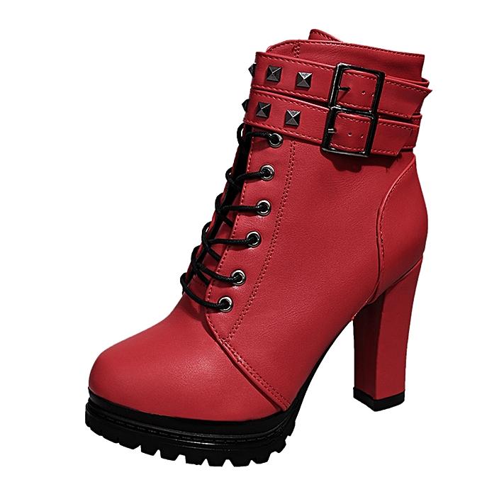859e00e6b91 Bliccol High Heel Shoes Women Sexy High Heels Platform Ankle Boots Thin Heel  Lace-Up