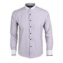 c584e817 Galia Striped Pattern Bishop Collar Shirt - Lilac & ...