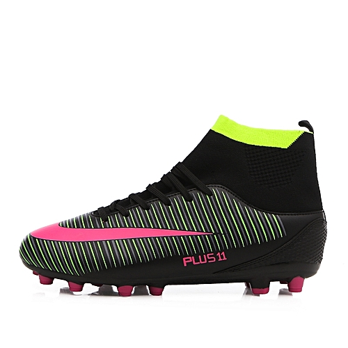 1c9a84e2d4e Tauntte Men Football Shoes High Top Spike Soccer Shoes Cleat Boots (Black)