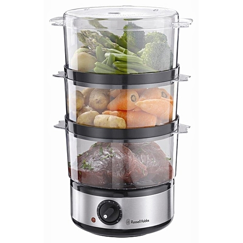 Versatile Three-Tier Fish And Vegetables Turbo Steamer - 400W - Russell Hobbs Food Collection Compact Food Steamer - 7L - Brushed Stainless Steel