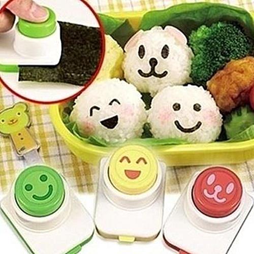 3PCS /set Seaweed Smiling Face Modeling Cute Lunch As Sushi Tools Rice Balls Mold DIY Seaweed Folder Folder Embossing Device