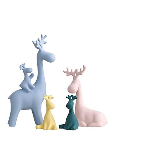 4Pcs Elk Living Room Decoration Home Wedding Accessories Cute Ceramic Ornament Macaron Color Generic