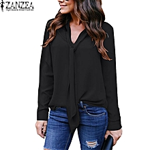 4c0e92ca1de ZANZEA Women V Neck Tie Long Sleeve Tops Shirt Casual Loose Blouse Plus Size