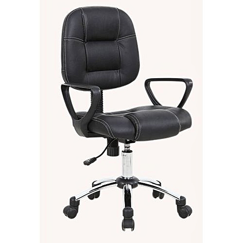 Durable Leather Secretary's Office Chair - Black