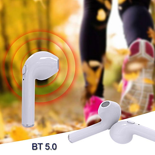 I7s TWS Wireless Bluetooth 5.0 In-ear Earbuds Headphones With Mic - White