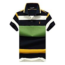 Men Polo Shirt Casual Striped Cotton Polo Short Sleeve-green aef7dd4247d66