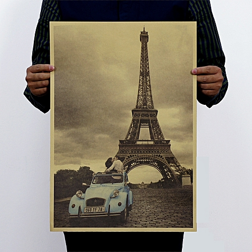 Vintage Paris Tower Poster Retro Kraft Paper Poster Home Decor