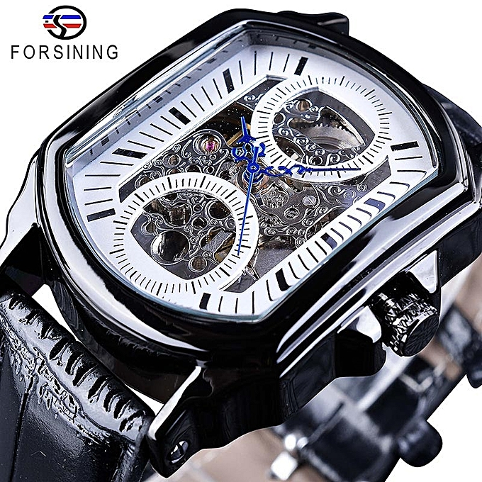 1f14a50cb Retro Classic White Dial Blue Hands Transparent Automatic Skeleton  Wristwatch Mens Luxury Mechanical Watches