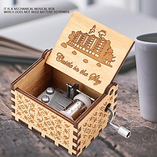 1Pc Wooden Carved Hand Crank Music Box Game Of Thrones In The Sky Mechanical Classic Craft Birthday Gift