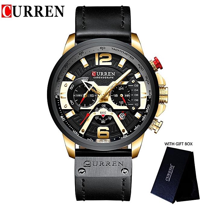 Relogio Masculino Sport Watch Men Top Brand Luxury Quartz Men's Chronograph  Date Military Wrist Watches Waterproof 8329(black Gold With Box)