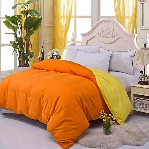 Microfiber Two-tone Home Duvet Cover Single/Full/Queen/King Size Orange And Yellow
