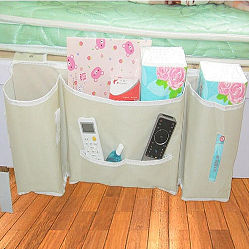 Japanese Bedside Bag Storage Artifact Beige Waterproof Oxford Cloth Book Bed Hanging Magazine Remote Storage Bag