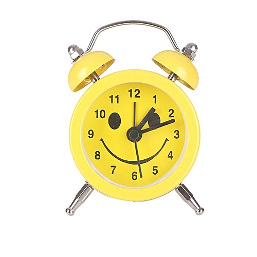 Home-Cute Facial Expression Alarm Clock Quartz Movement Bedside Desk Alarm Clock*Yellow