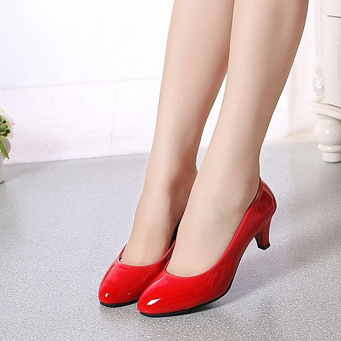 b83a291b5c0a Nude Shallow Mouth Women Office Work Heels Shoes Elegant Ladies Low Heel-Red  (EU