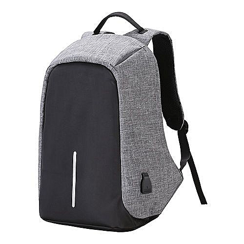 Travel Backpack Anti-thief Laptop Bag With USB Charging Port -Grey