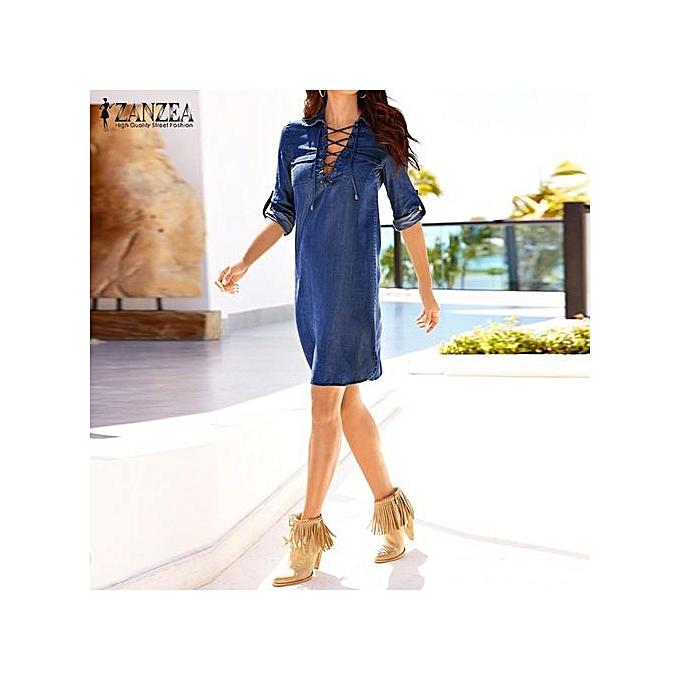 dcf7383e3f ... ZANZEA New Arrival Denim Dress Women Mini Dress Long Sleeve Lapel Neck  Bandage Lace Up Dresses ...