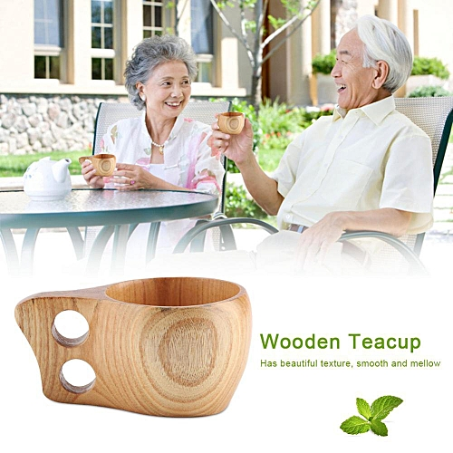 Wooden Tea Coffee Cup Portable Outdoor Natural Wood Drinks Drinking Mug With Handle(#1)