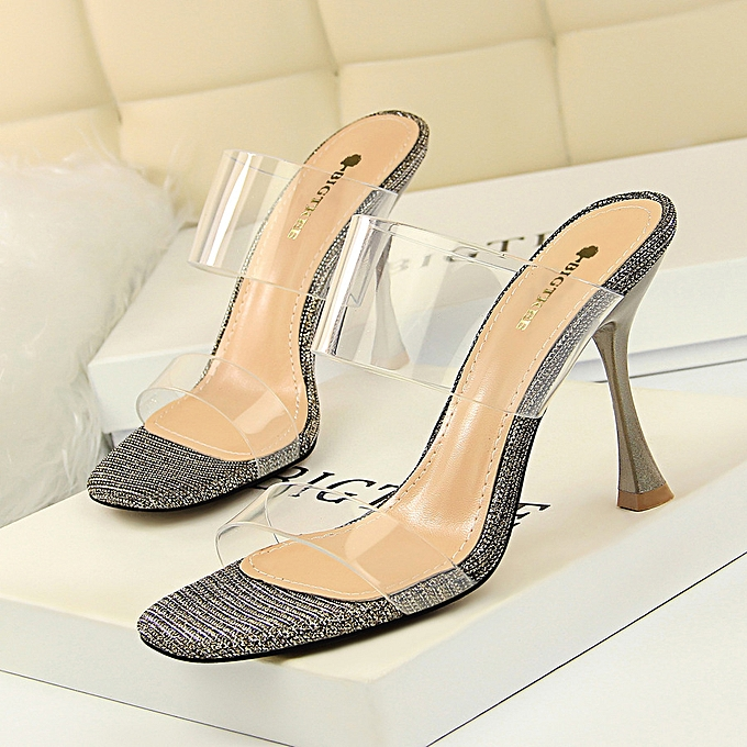 e5c926d418 Women Simple Summer Shoes Wine Glass With High Heel Shiny Open Toe Square  Head With A
