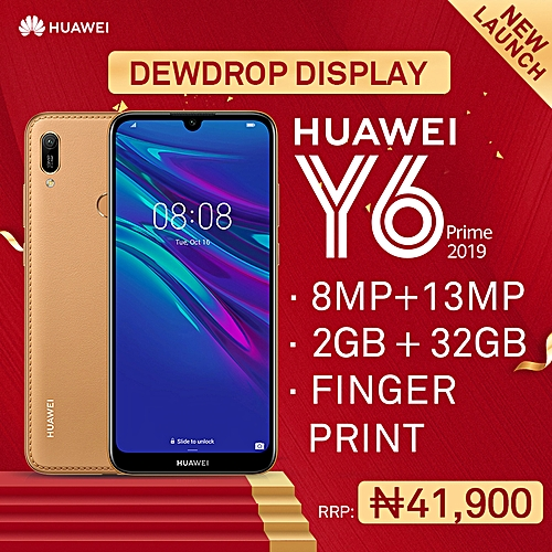 Y6 Prime 2019 6 09-Inch HD+ Dewdrop (2GB,32GB ROM) Android 9 0 Pie, 13MP +  8MP Dual SIM 4G 3020mAh Smartphone - Amber Brown (MW19)