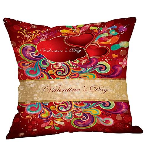 Fashion Happy Valentines Pillow Cases Linen Sofa Cushion Cover Home Decor Pillow Case
