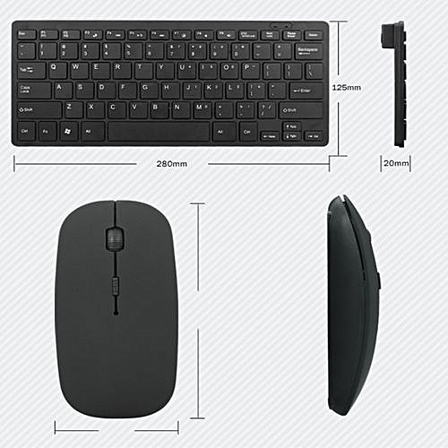 Wireless Keyboard Mouse Kit, Ultra-Thin Portable Silver