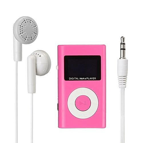 Mini USB MP3 Music Media Player LCD Screen Support 32GB Micro SD TF Card  Slot Pink