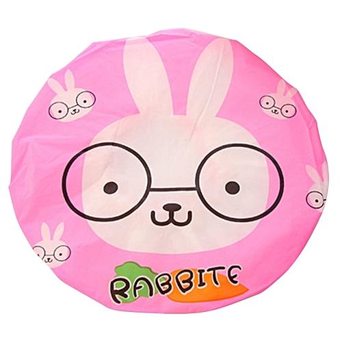 Cute Cartoon Animal Waterproof Shower Cap Resuable Lace Elastic Band Bath Hair Caps Hat Style:Rabbit