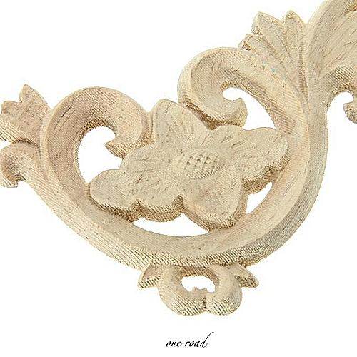 12x8cm Wood Carved Corner Onlay Applique Frame Door Decorate Wall Doors Furniture Decorative Figurines Wooden Miniatures
