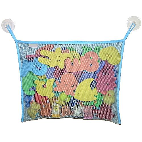 Bath Toy Organizer Mesh Storage Hanging Bag + 2 Bonus Strong Hooked Suction Cups Light Blue