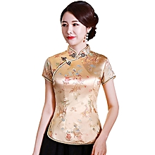 c4e332f6a Shanghai Story Dragon Embroidery Chinese Cheongsam Shirt Short Sleeve China  Blouse For Women Gold