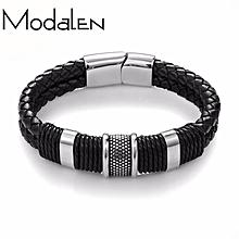 348d5cdbd Men's Genuine Leather Bracelet Stainless Steel Magnetic Buckle Black Wrist  Cuff Bangle 22cm(8.7inch