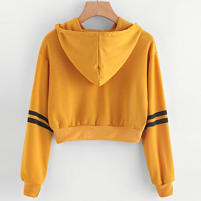 26d1dea0e12317 ... Xingbiaocao Women Varsity-Striped Drawstring Crop Hoodie Sweatshirt  Jumper Crop Pullover Top - Yellow ...
