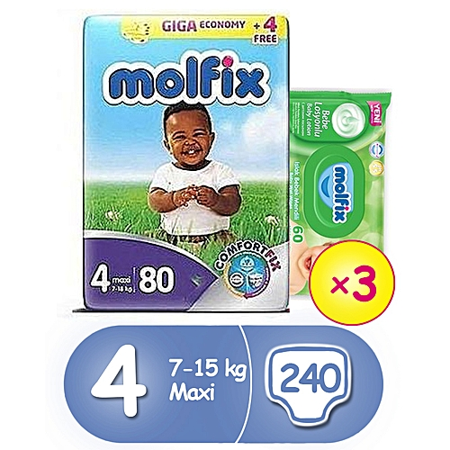 MAXI JUMBO PACK SIZE 4 (80*3) + Free Wipes