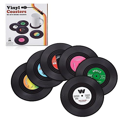 Retro Record Disc Design Drink Vinyl Coasters Non-slip Cup Bottle Mats 6PCS