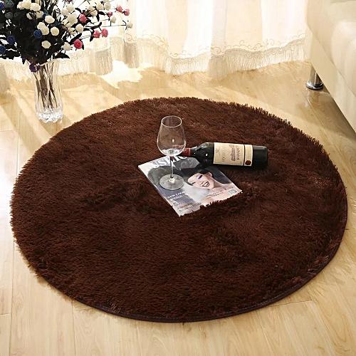 Round Rug Simple Solid Design Multipurpose Floor Mat-COFFEE BROWN