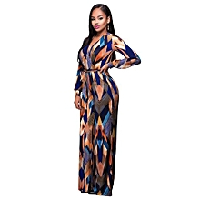 ca6f8a48698d Women Full-sleeve High Waist Contton Slim Ankle-lenght Jumpsuit Romper  Playsuit-multicolor